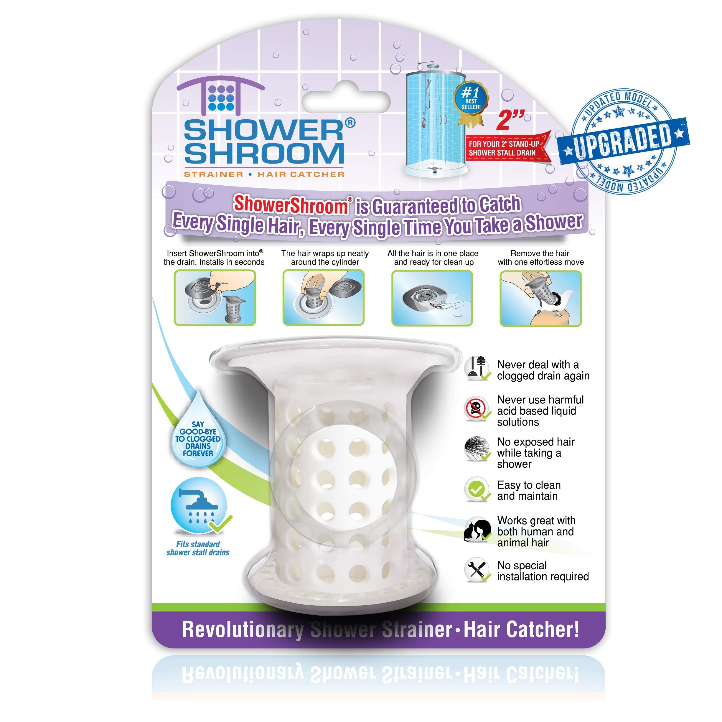 ShowerShroom Revolutionary 2'' Stand-up Shower Stall Drain Protector Hair Catcher/Strainer 2'', White