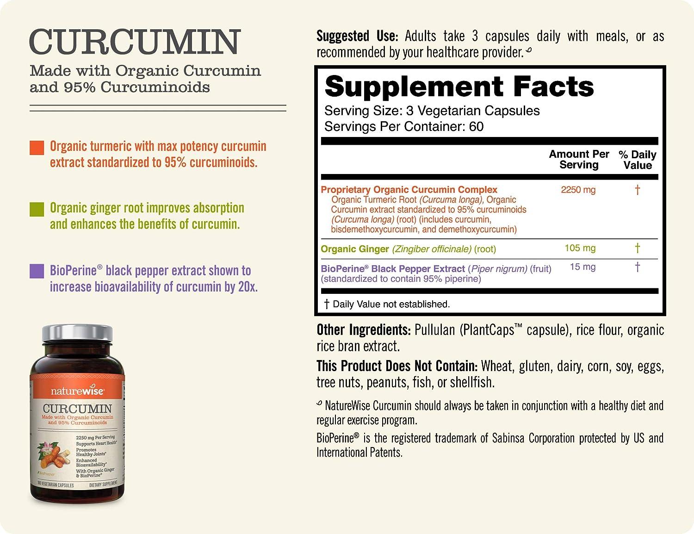 NatureWise Curcumin Turmeric 2250mg | 95% Curcuminoids & BioPerine Black  Pepper Extract | Advanced