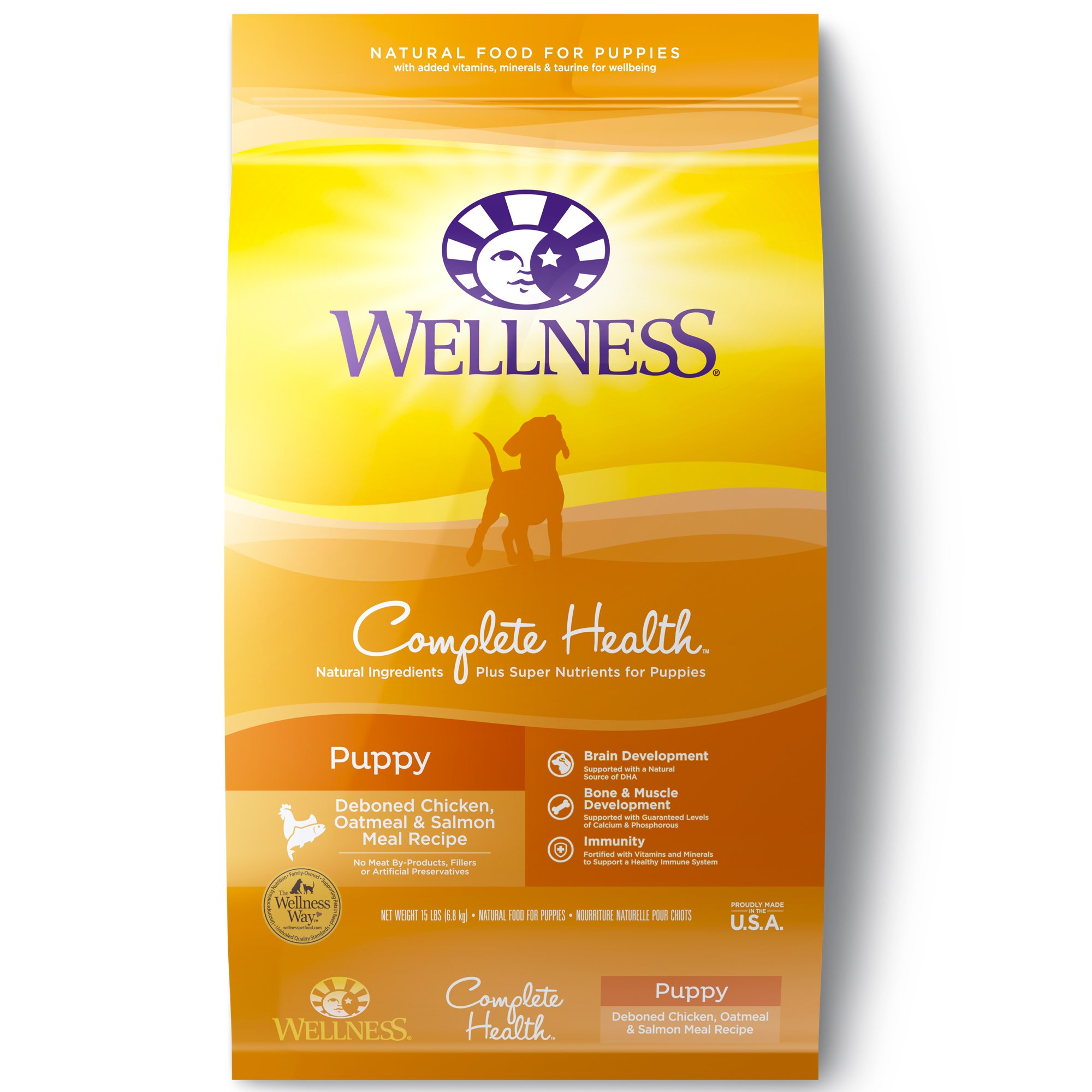 Wellness Complete Health Natural Dry Puppy Food, Chicken, Salmon & Oatmeal, 15-Pound Bag by Wellness Natural Pet Food