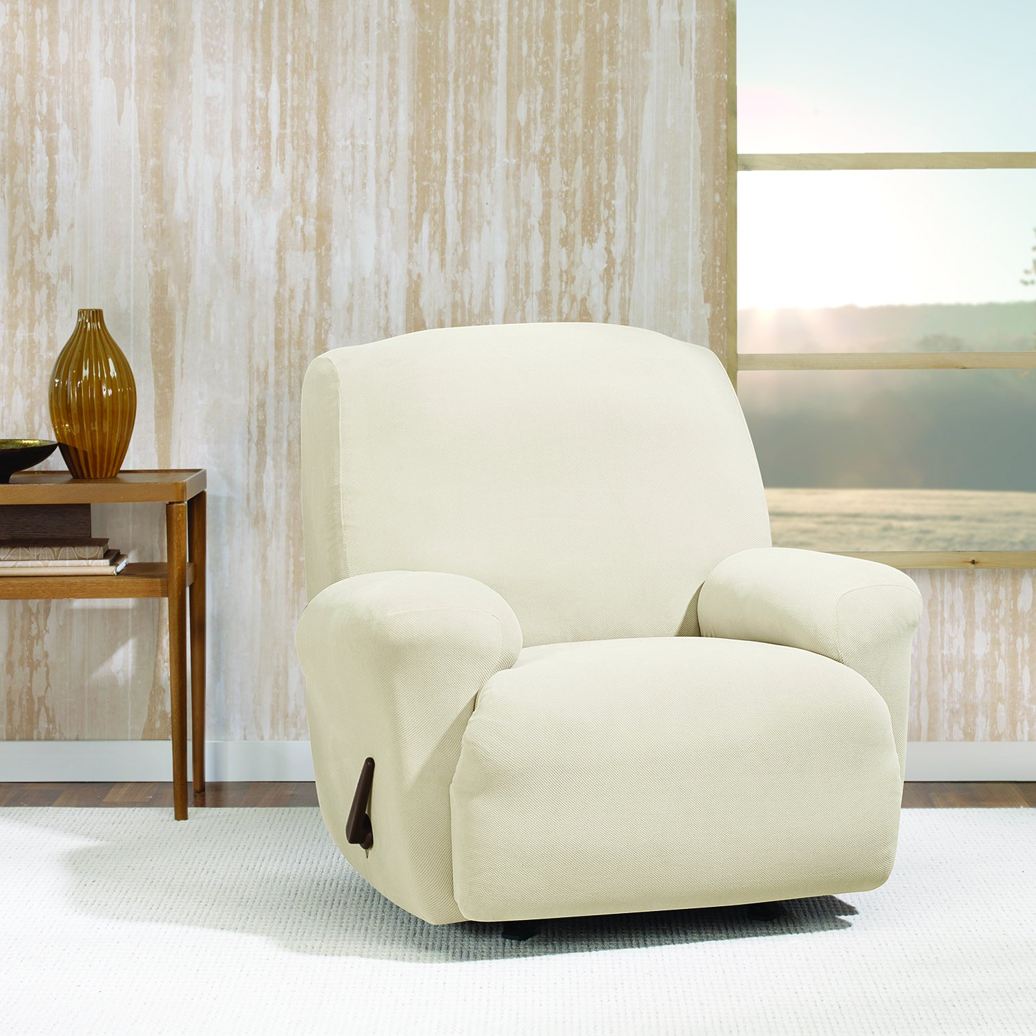 Sure Fit Stretch Morgan 1-Piece  - Recliner Slipcover  - Ivory (SF45354)