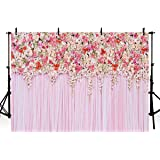COMOPHOTO Birthday Party Backdrop Pink Floral Wedding Decor Art Fabric Print Photography Background 7x5ft Flower Wall Newborns Photo Backdrops for Pictures