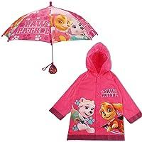 Nickelodeon Little Girls Paw Patrol Character Slicker and Umbrella Rainwear Set, Pink, Age 2-7, Age 6-7