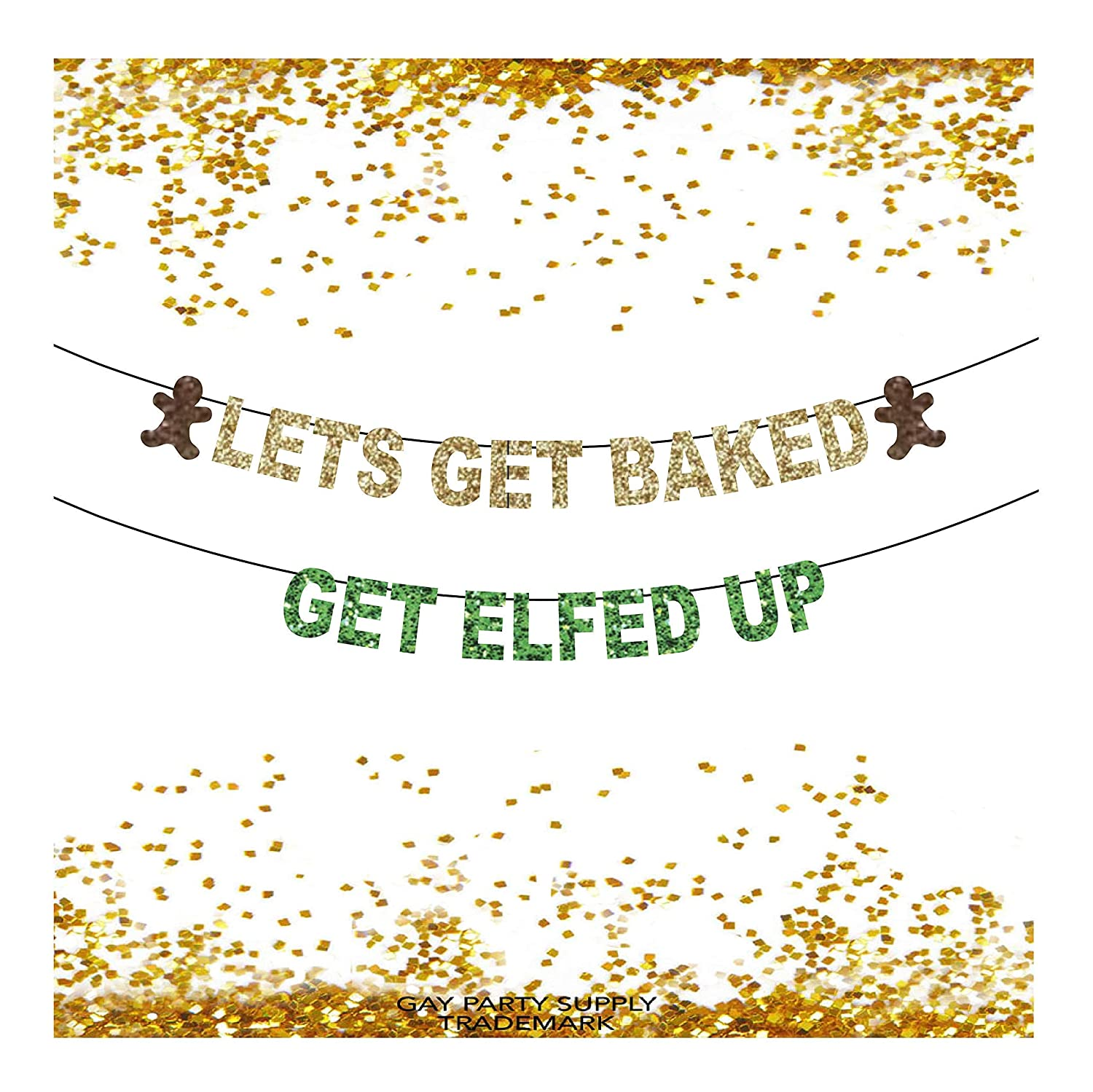 Christmas Banners Lets Get Baked Christmas Banners Get Elfed Up Funny Christmas Decorations