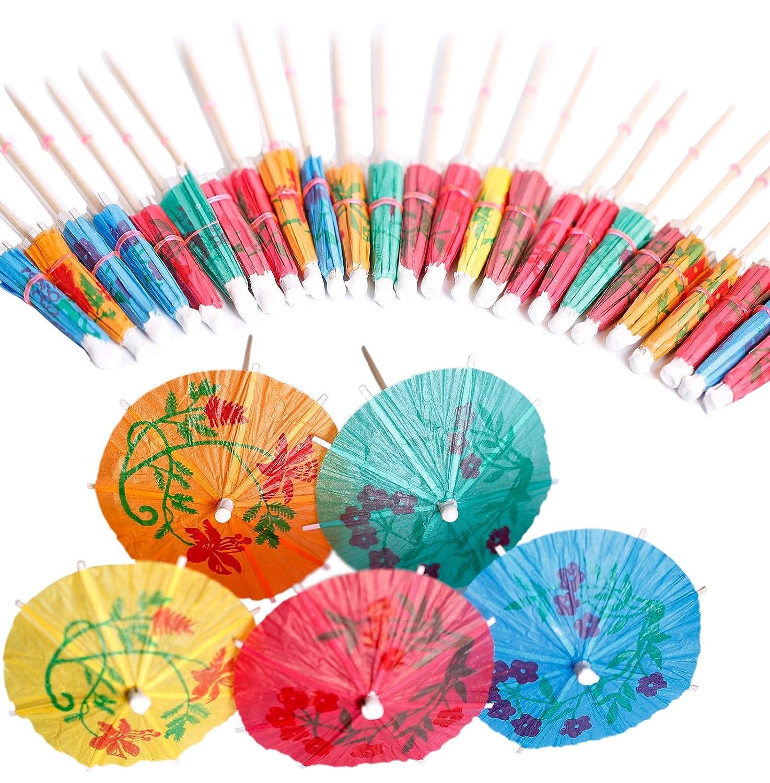 40 PCS Coloured Paper Parasols Umbrellas Drink Sticks for Cocktail Decoration,Beach Parties,Decoration,Party Accessories