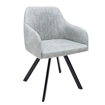 Exklusiver Design Stuhl LUCCA Stone Grau Mit Edler Steppung Roadster  Armlehnenstuhl Esszimmerstuhl