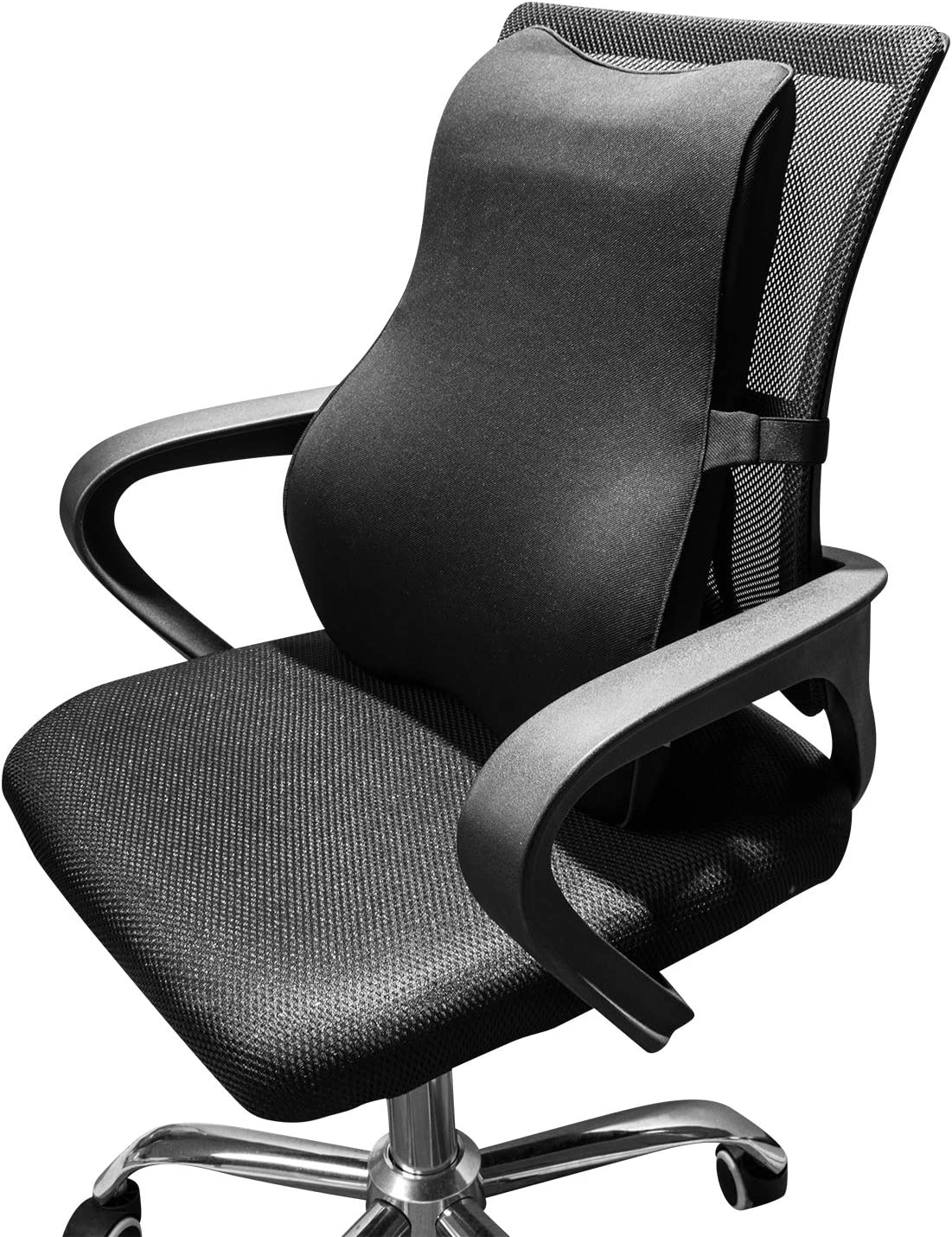 Dreamer Car Ergonomic Back Support for Car Designed for Full Lumbar Support and Back Pain Relief- High Density Memory Foam Lumbar Support for Car with Adjustable Strap for Office Chair/Computer,Black
