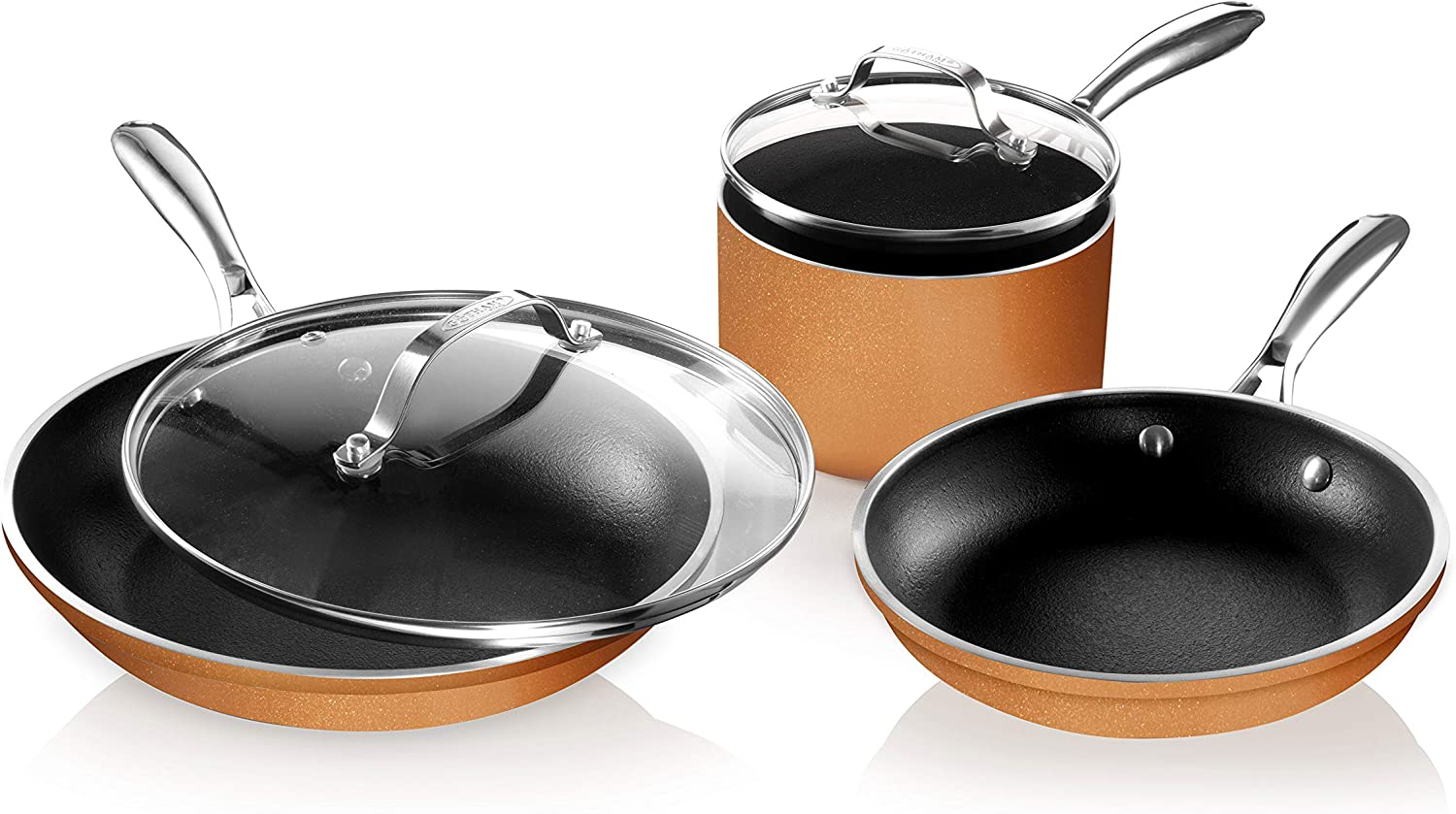 Gotham Steel Copper Cast 5 Piece Pots and Pans Set with Ultra Nonstick & Durable Iron Texture, 100% PFOA Free, Open Skillet with Stay Cool Stainless Steel Handle, Oven & Dishwasher Safe, As Seen on TV