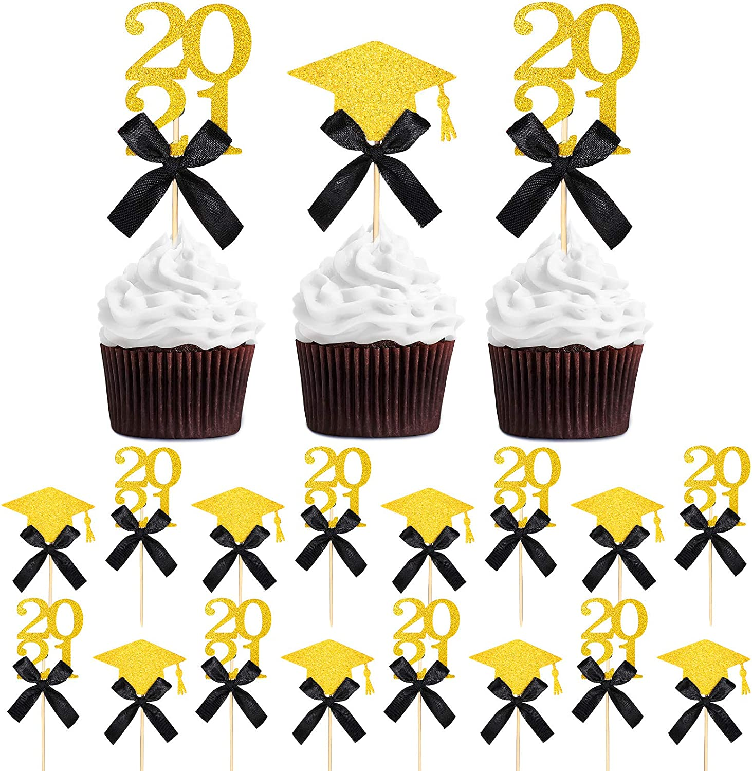 24 Pieces Graduation Cupcake Toppers 2021 Graduate Cake Topper Glittery Congrats Grad Food/Appetizer Picks for 2021 Graduation Party Decorations Grad Party Cake Decor Graduation Cupcake Decor (Black)