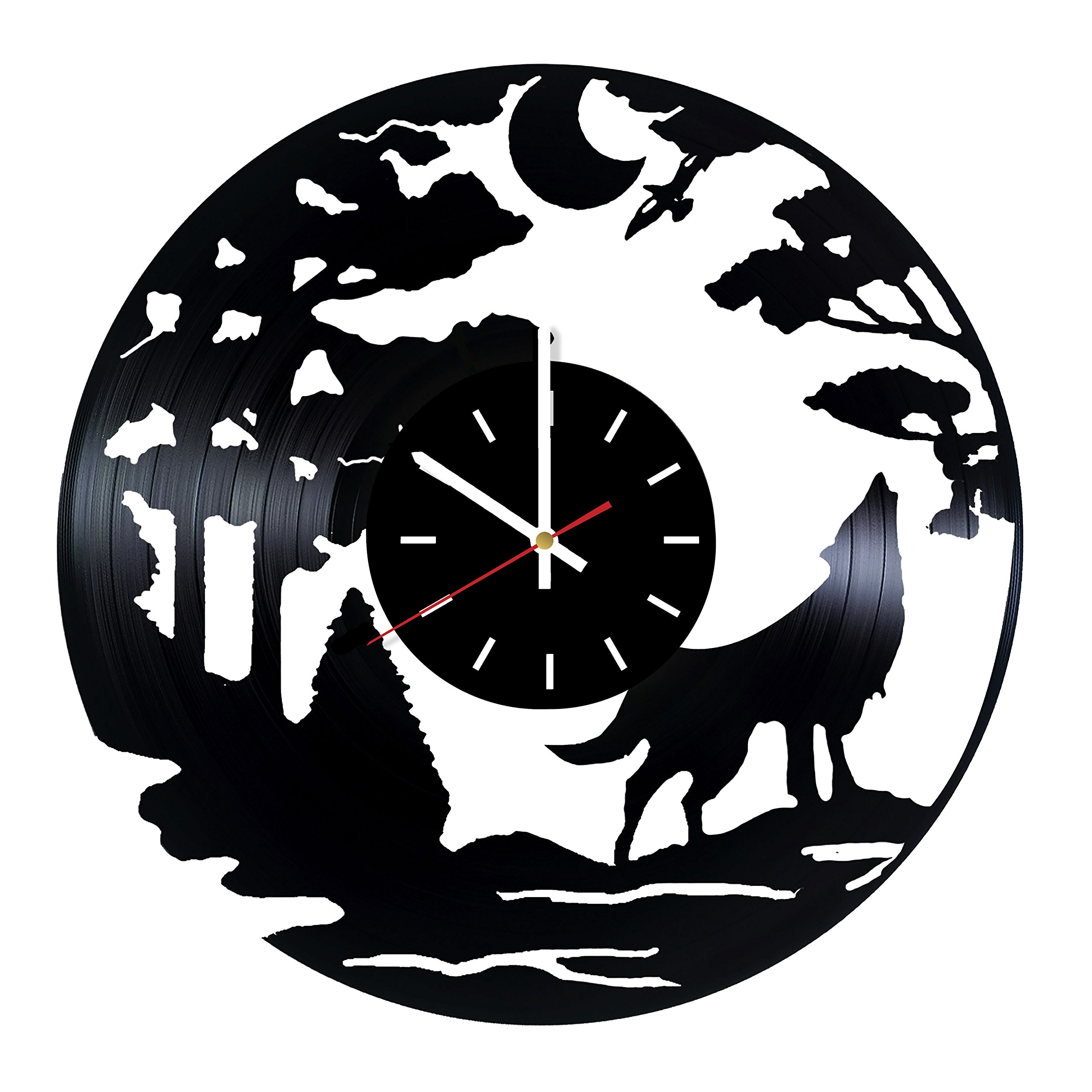 Everyday Arts Wolf Design Vinyl Record Wall Clock - Get Unique Bedroom or Garage Wall Decor - Gift Ideas for Friends, Brother - Wolf Unique Modern Art by Everyday Arts