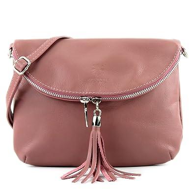 modamoda de - ital. Ledertasche Damentasche Umhängetasche Tasche Schultertasche Leder T159, Präzise Farbe:Petrolgrün modamoda de - Made in Italy