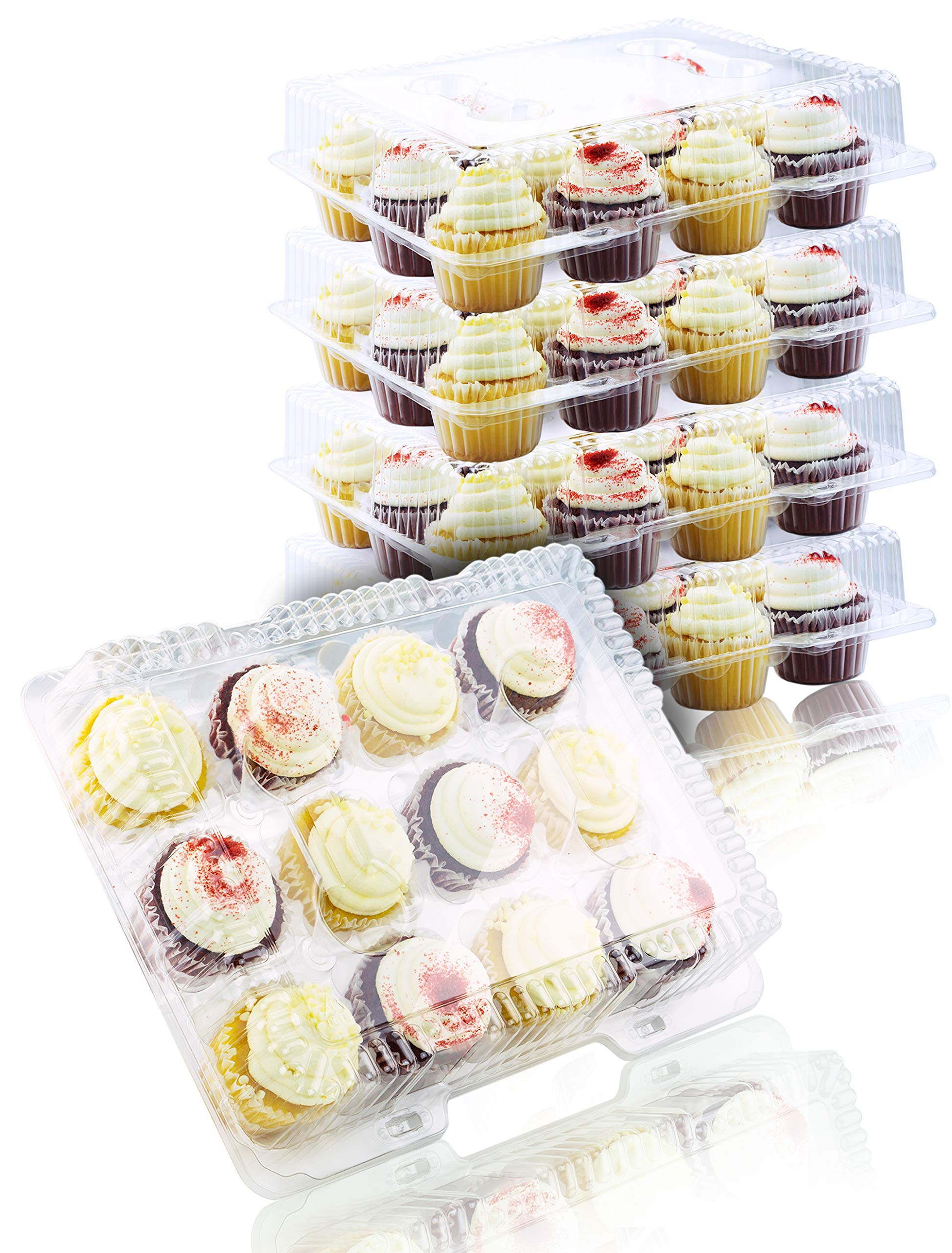 Chefible 12 Plastic Disposable Cupcake Container, Takeout Container, Cupcake Carrier - Set of 4 by Chefible®