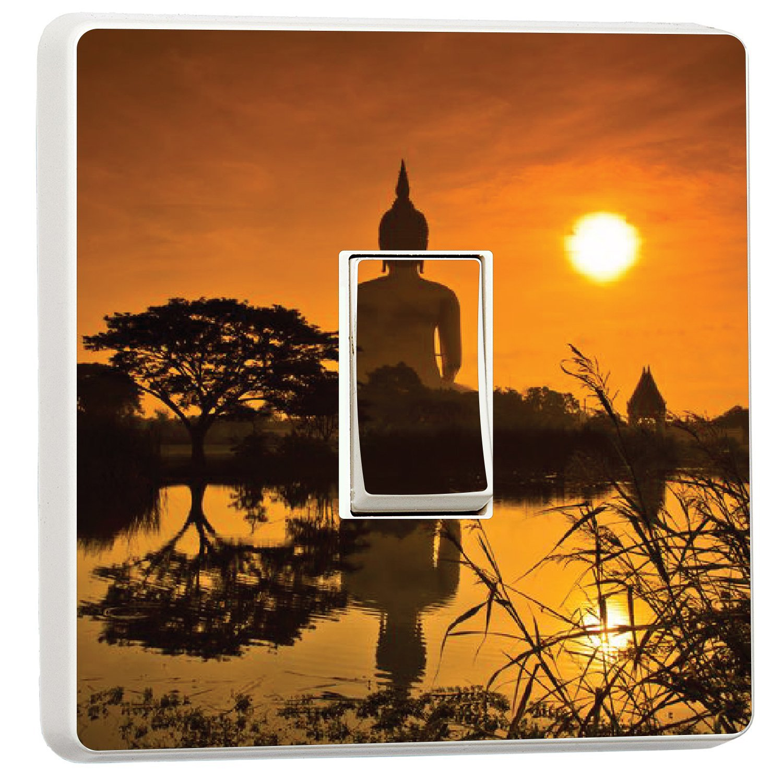 Budda statue at sunrise zen peace light switch sticker cover (14066752) wmoltdTM