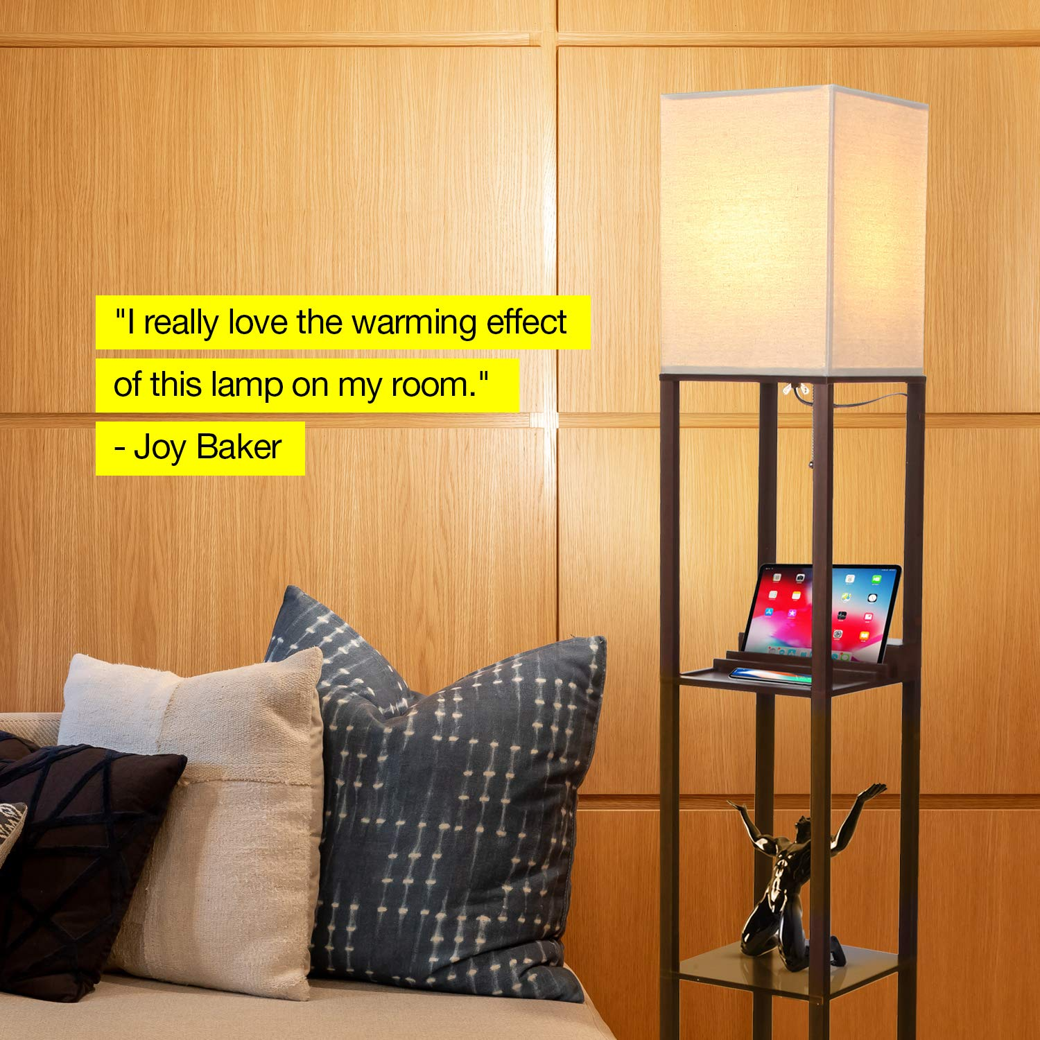 Brightech Maxwell Charging Edition - LED Shelf Floor Lamp for Living Rooms & Bedrooms - Includes USB Ports & Electric Outlet - Modern Standing Light - Asian Display Shelves - Havana Brown by Brightech (Image #4)