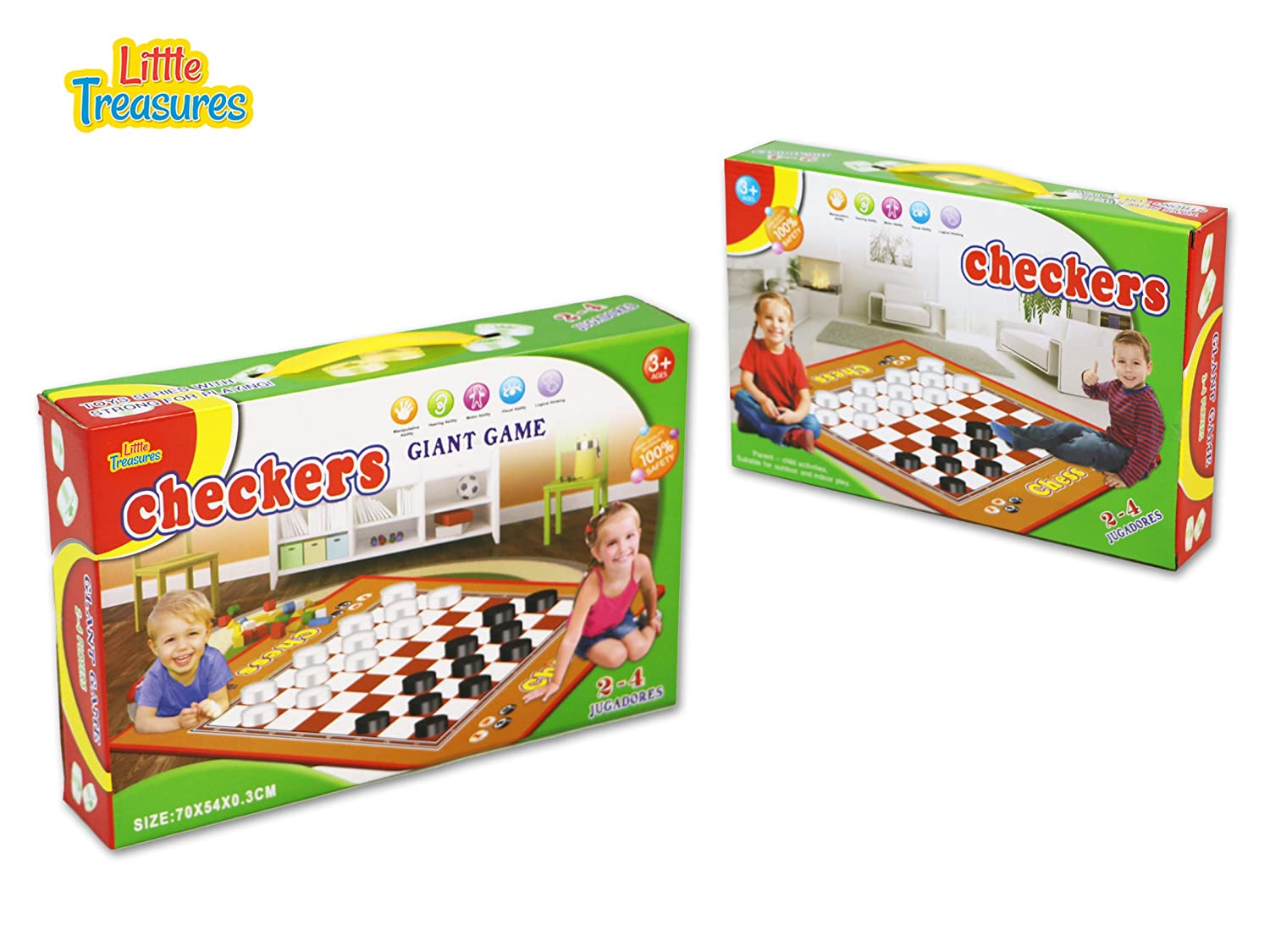Ver-Baby A Traditional Game with a Giant Twist Giant Checkers Mat Game for Indoor//Outdoor Play
