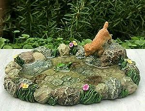Miniature Dollhouse FAIRY GARDEN Accessories ~ Mini Pond Friends w Dog & Turtle Fairy Garden, Micro Landscape, Craft Decor