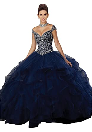 c9ad0f7587d Fannydress Off The Shoulder Quinceanera Dresses Ruffles Crystal Beads  Sequins Layers Ball Gowns Prom Dress 2019 at Amazon Women s Clothing store