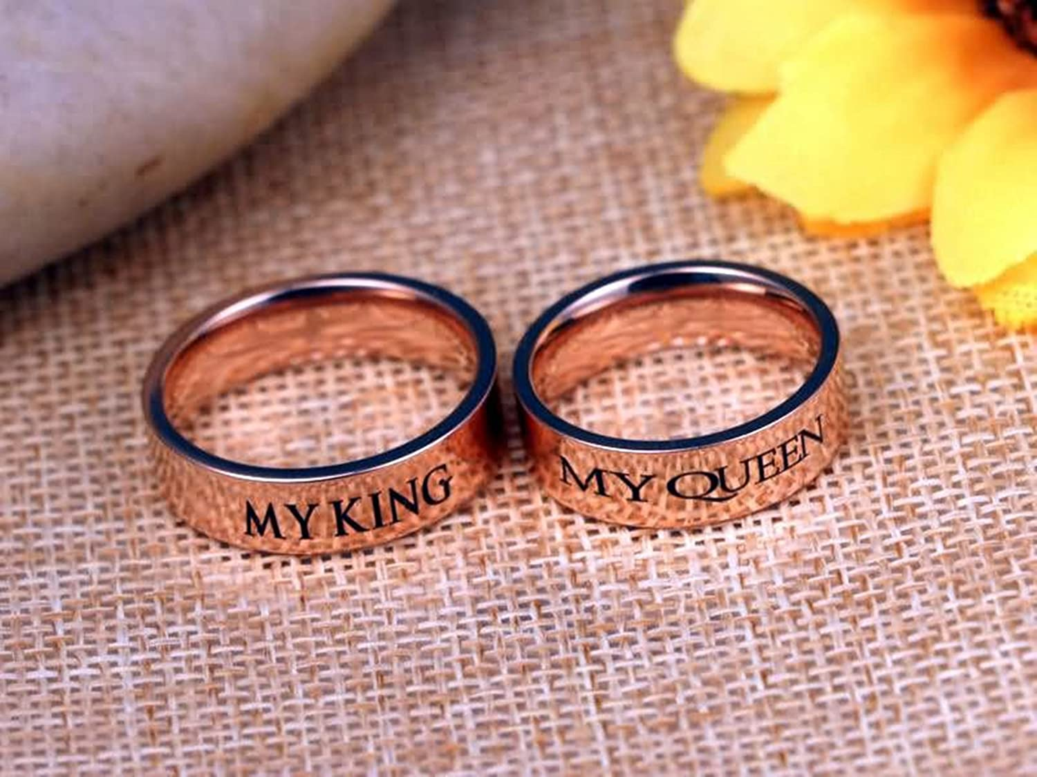 Amazon.com: Bishilin 2 PCS Stainless Steel Rings for Couple with ...