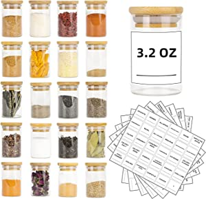 Glass Spice Jars Set of 20 - 3.2oz (95ml) Mini Spice Jar with Bamboo Airtight Lids and 180 Spice Jar Square Labels Preprinted, Thicken Seasoning Containers, Food Storage for Pantry, Tea, Herbs, Salt