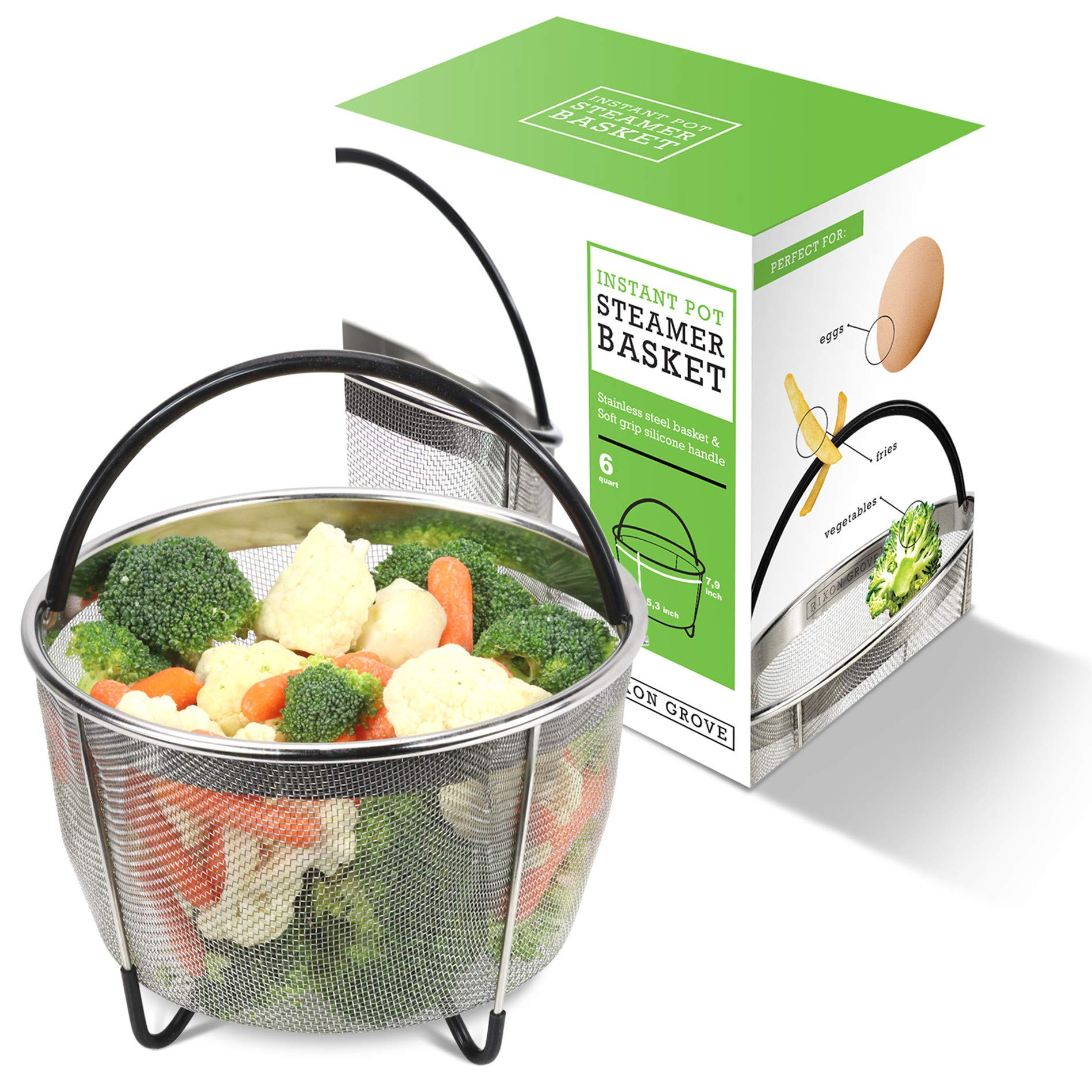 Rixon Grove Steamer Basket Compatible with Instant Pot 6 quart and 8 quart Duo, Ultra, Lux, Nova, and Viva Models, plus most other Pressure Cookers.