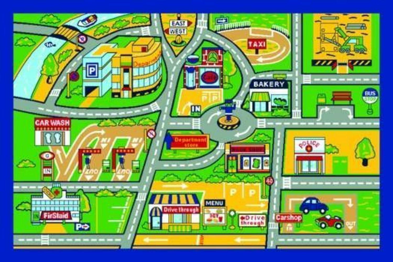 Children's Play Village Mat Town City Roads Rug 100x150cm