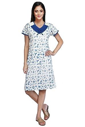 7cbfc088a8 MUSE Short Nighty Cotton Sinker Hosiery for Women - Free Size -  Nightwear Night Dress Half Sleeve - Blue (Floral Design)  Amazon.in   Clothing   Accessories