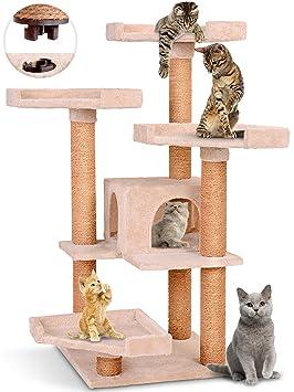 Leopet - Árbol rascador para gatos con cuevas y plataformas - altura aprox. 113 cm - color beis: Amazon.es: Hogar