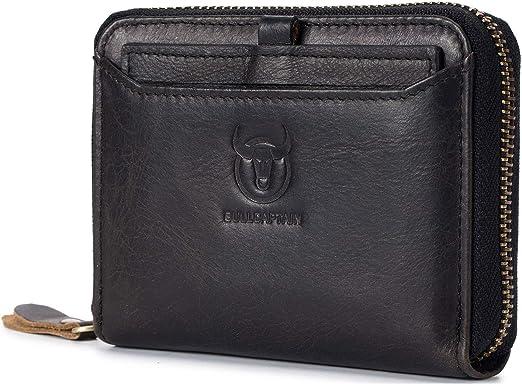 Brown Mens RFID Blocking Wallet,Genuine Leather Vintage Biflod wallets Multifunctional Credit Card Holder Minimalist Purse with Zipper Pocket for Men