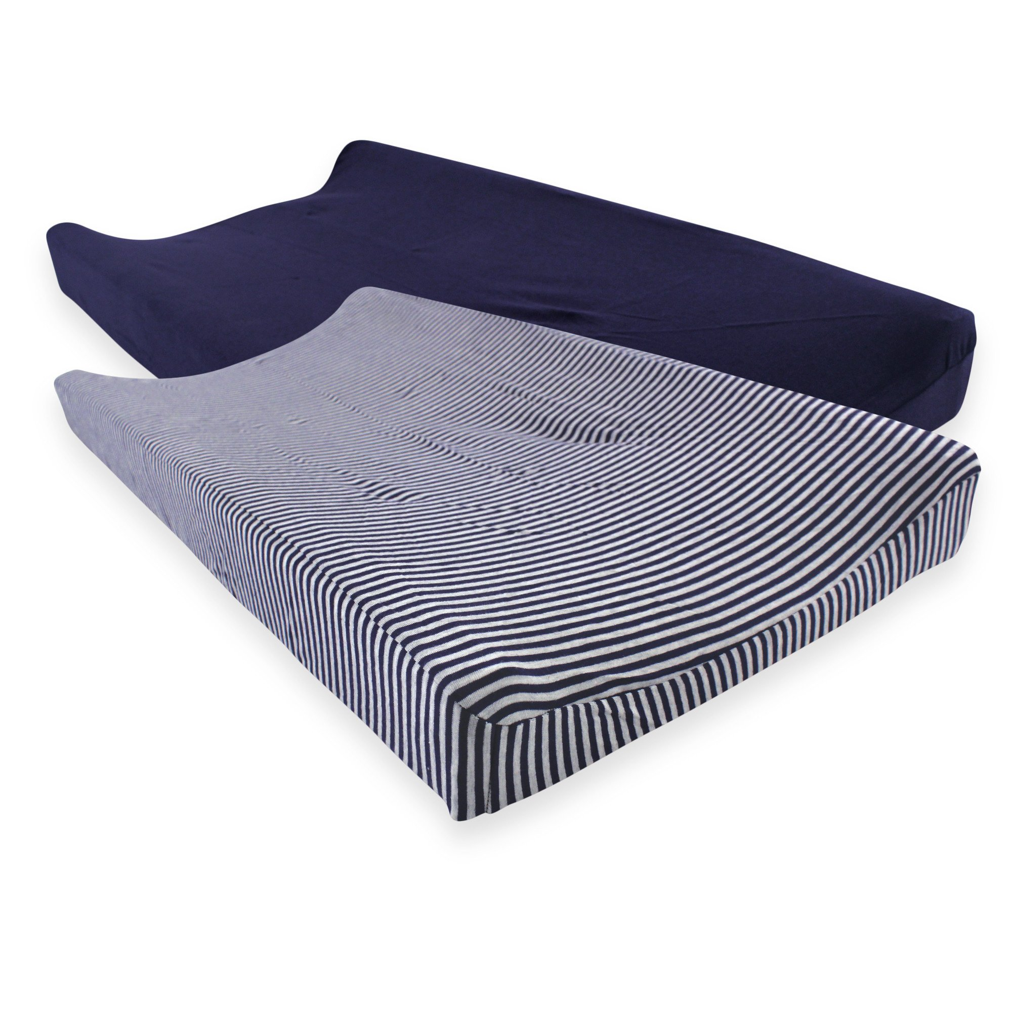 Touched by Nature Organic Cotton Changing Pad Cover, 2 Pack, Navy and Gray, One Size
