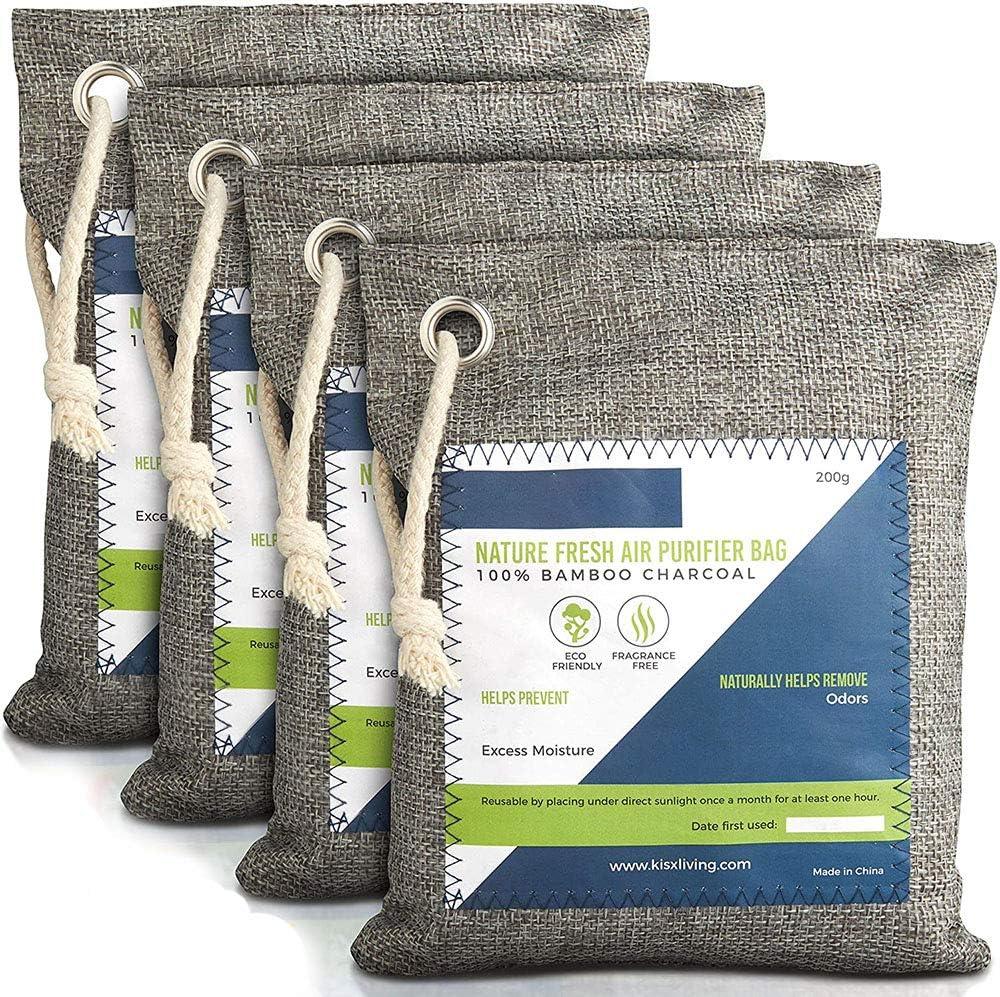 Nature Fresh Air Purificador Bolsas – Bolsa de carbón activado para purificar el aire de carbón de bambú para el hogar, absorbe olores de carbón activado,desodorizador, ambientador de coche