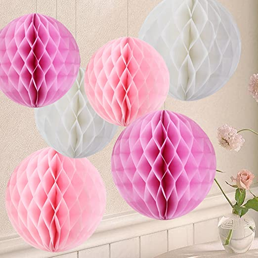 PARTY WEDDING CHRISTENING 3 X PINK HONEYCOMB BALL HANGING DECORATIONS
