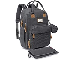 Diaper Bag Backpack, RUVALINO Neutral All-in-One Baby Bags for Boy Girl, Multifunction Large Travel Backpack with Portable Ch