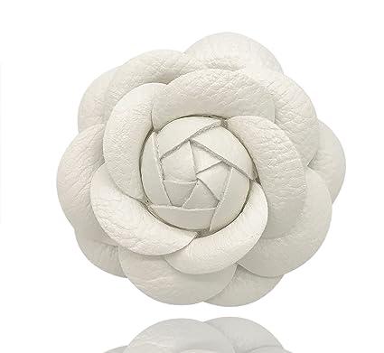 Amazon misasha designer white leather handmade camellia rose misasha designer white leather handmade camellia rose flower brooch pin for women mightylinksfo