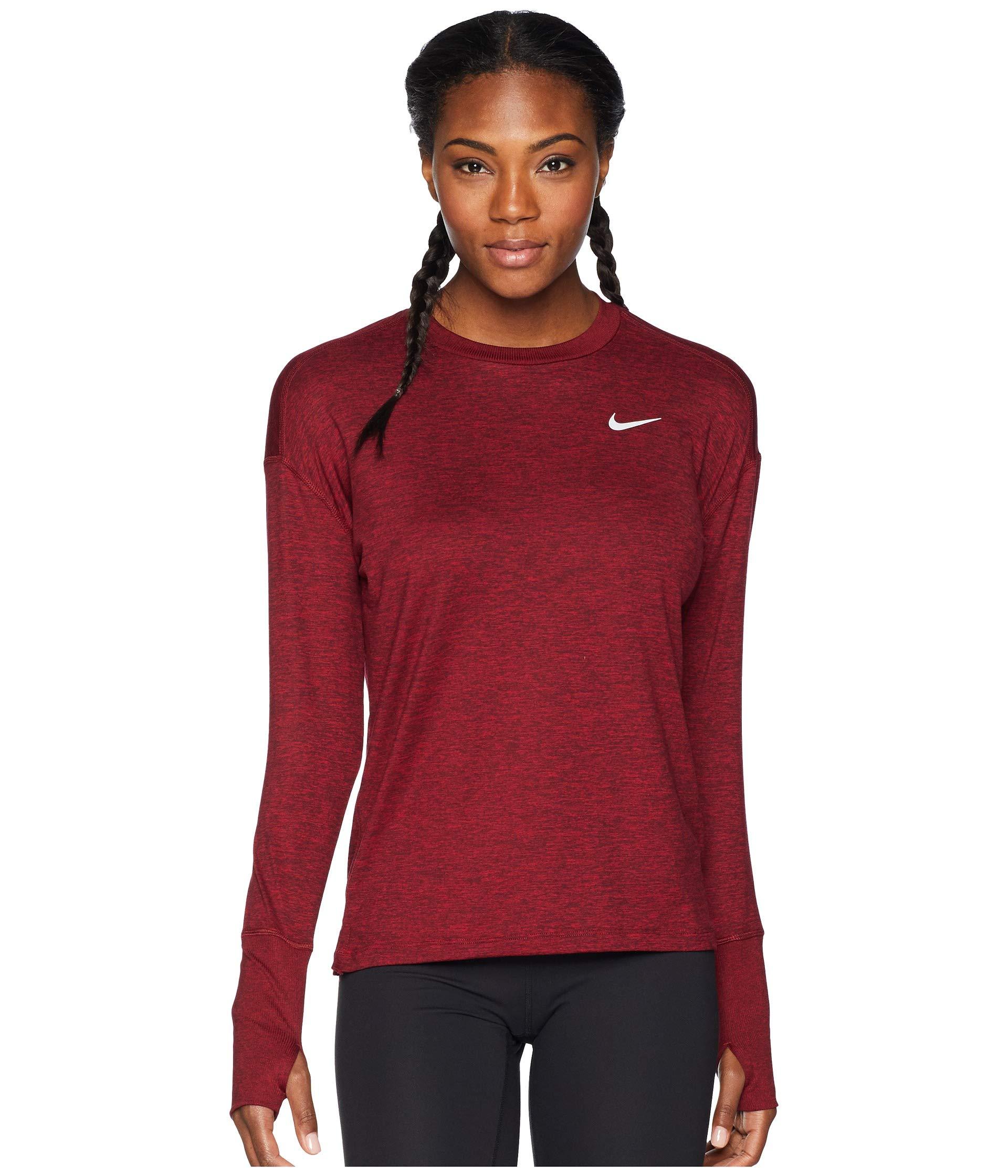 Nike Women's Element Crew Top Burgundy Crush/Red Crush/Heather X-Small