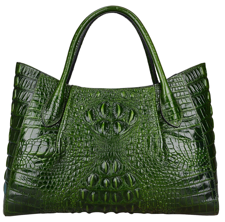 Pijushi Women Embossed Crocodile Handbag Designer Top Handle Handbags Holiday Gift 22198 (Green)