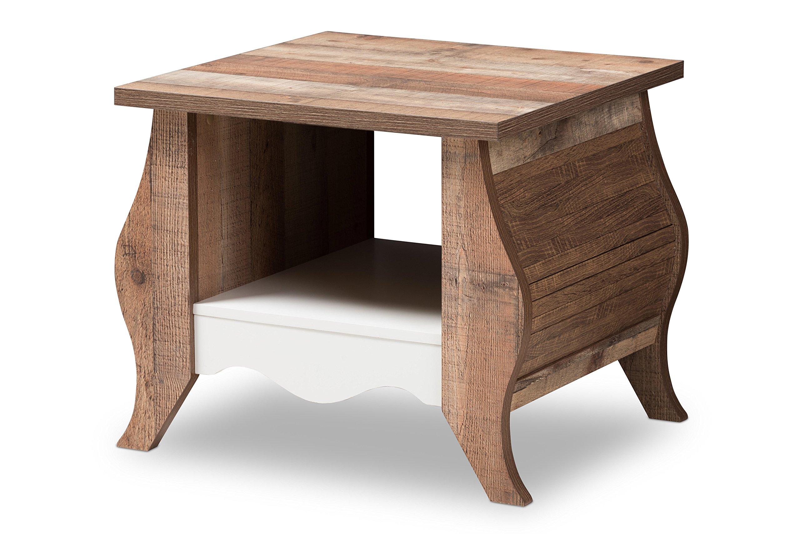 Baxton Studio 146-424-8177-AMZ Altena Country Cottage Farmhouse White and End Table, Oak Brown