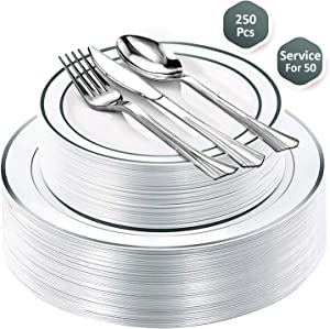 """Fancy Disposable Plastic Plates with Cutlery 250 Piece Combo