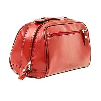 Amazon.com: Rojo de lujo de piel para mujer neceser | Bolsa ...