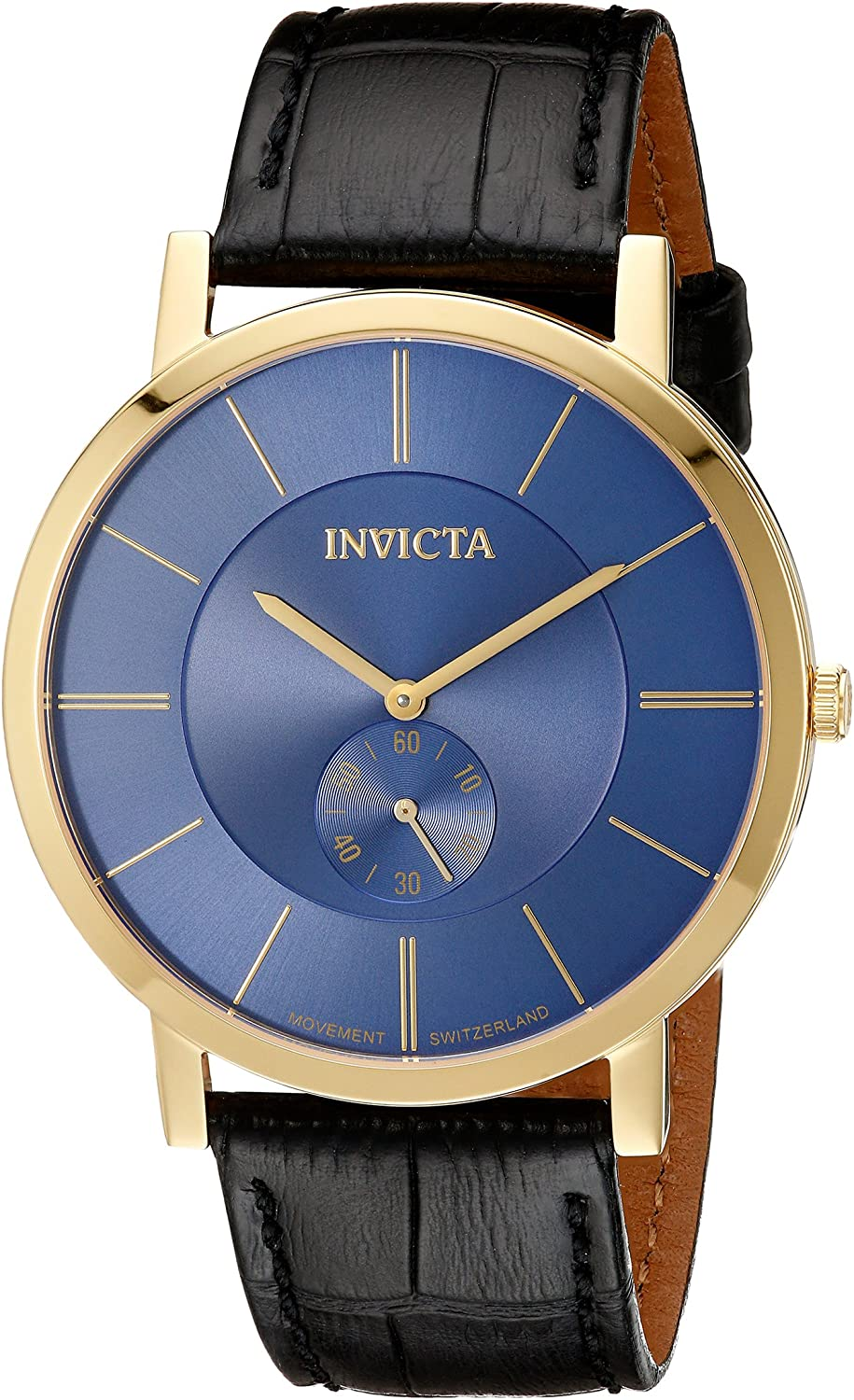 Invicta Men s 19541 18k Gold Ion-Plated Watch with Black Leather Band