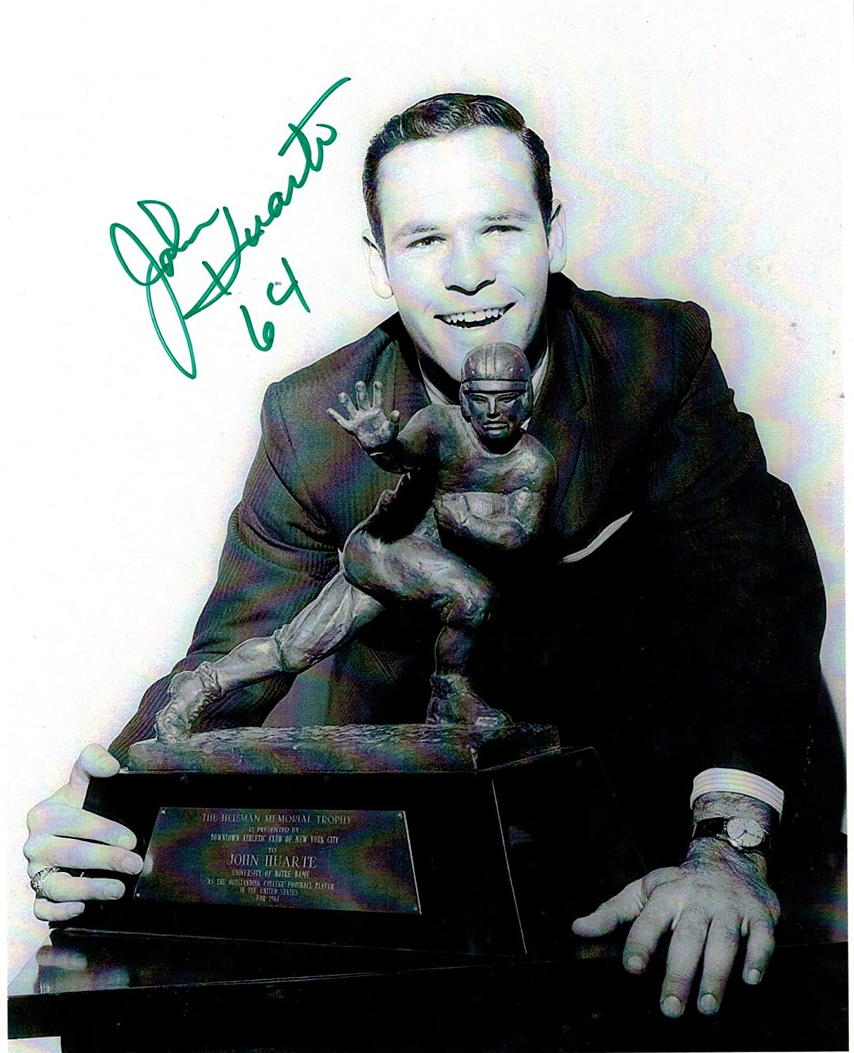 John Huarte Notre Dame Autographed 8x10 Photo Inscribed64 for the year he won the Heisman Trophy