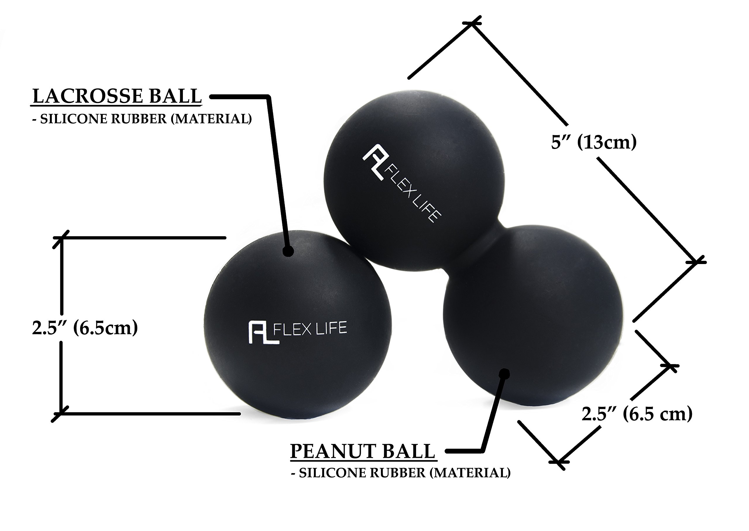 Flex Life Massage Ball Set & Muscle Roller Stick Massager - 2 Spiky Ball, 1 Lacrosse Ball, 1 Peanut Ball, (1) 18'' Roller Stick. Great Rollers For Plantar Fasciitis, Mobility, Recovery, Soreness by Flex Life (Image #4)