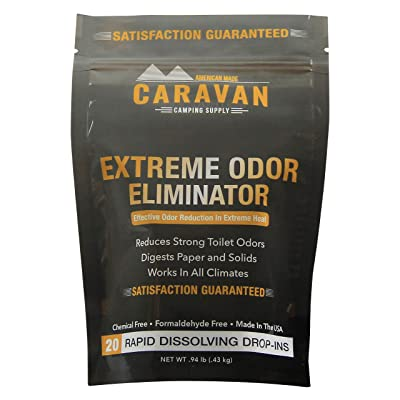 CARAVAN Extreme Odor Eliminator - RV Black & Gray Holding Tank Treatment - hot Weather, Drop-in Odor/Stench Bomb, 20 pods | Controls Strong Toilet Odors in All climates | Chemical and Fragrance Free: Automotive