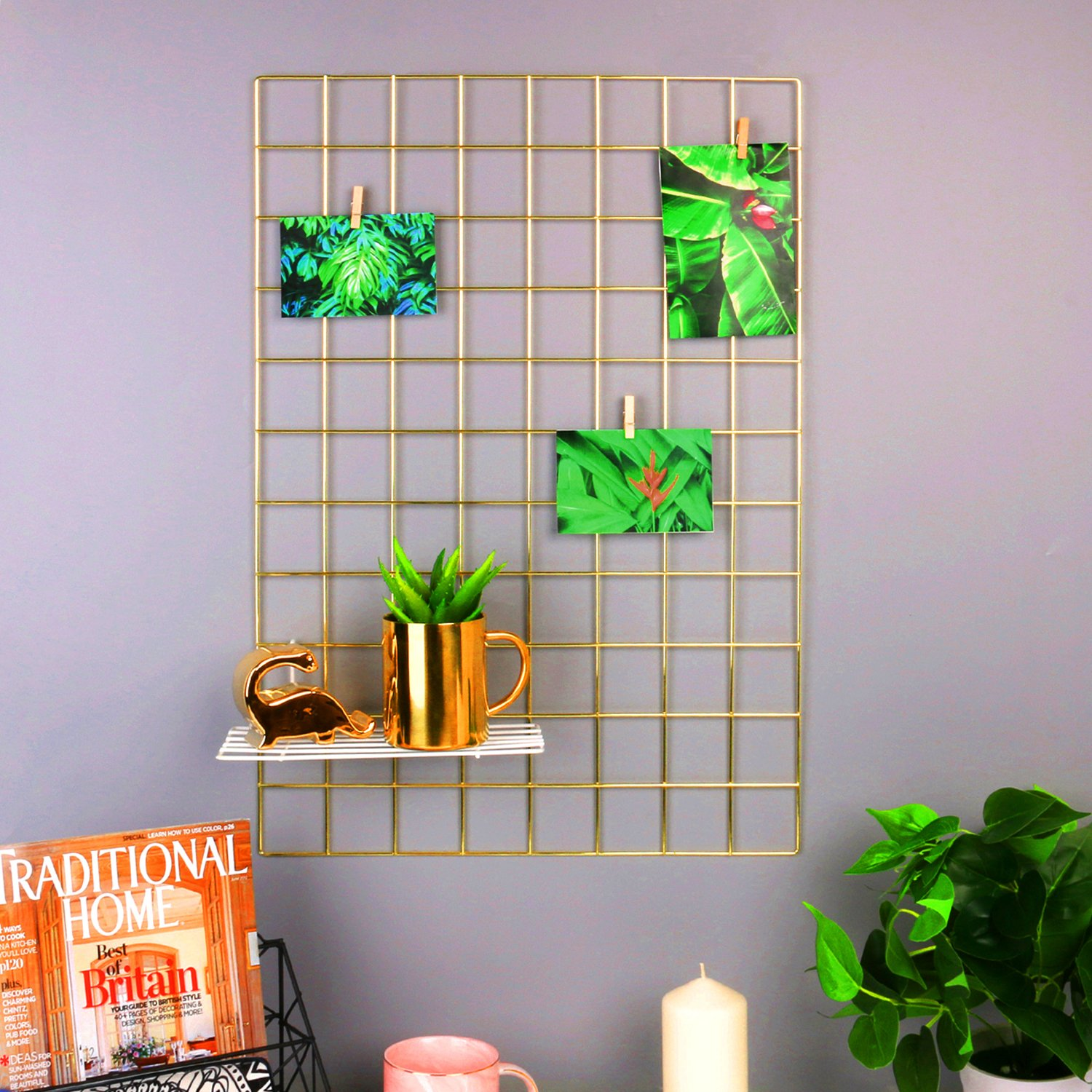 Simmer Stone Gold Wall Grid Panel for Photo Hanging Display & Wall Decoration Organizer, Multi-functional Wall Storage Display Grid, 10 Clips & 4 Nails Offered, Set of 1, 17.7''x 25.6''