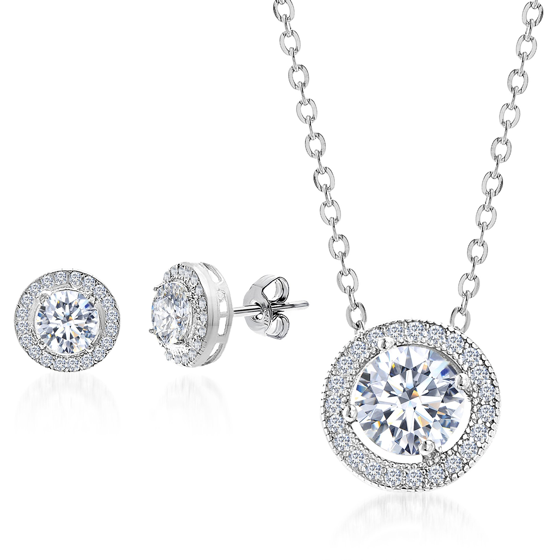Mia Sarine Round Cubic Zirconia Halo Earring and Pendant Set in Rhodium over Sterling Silver