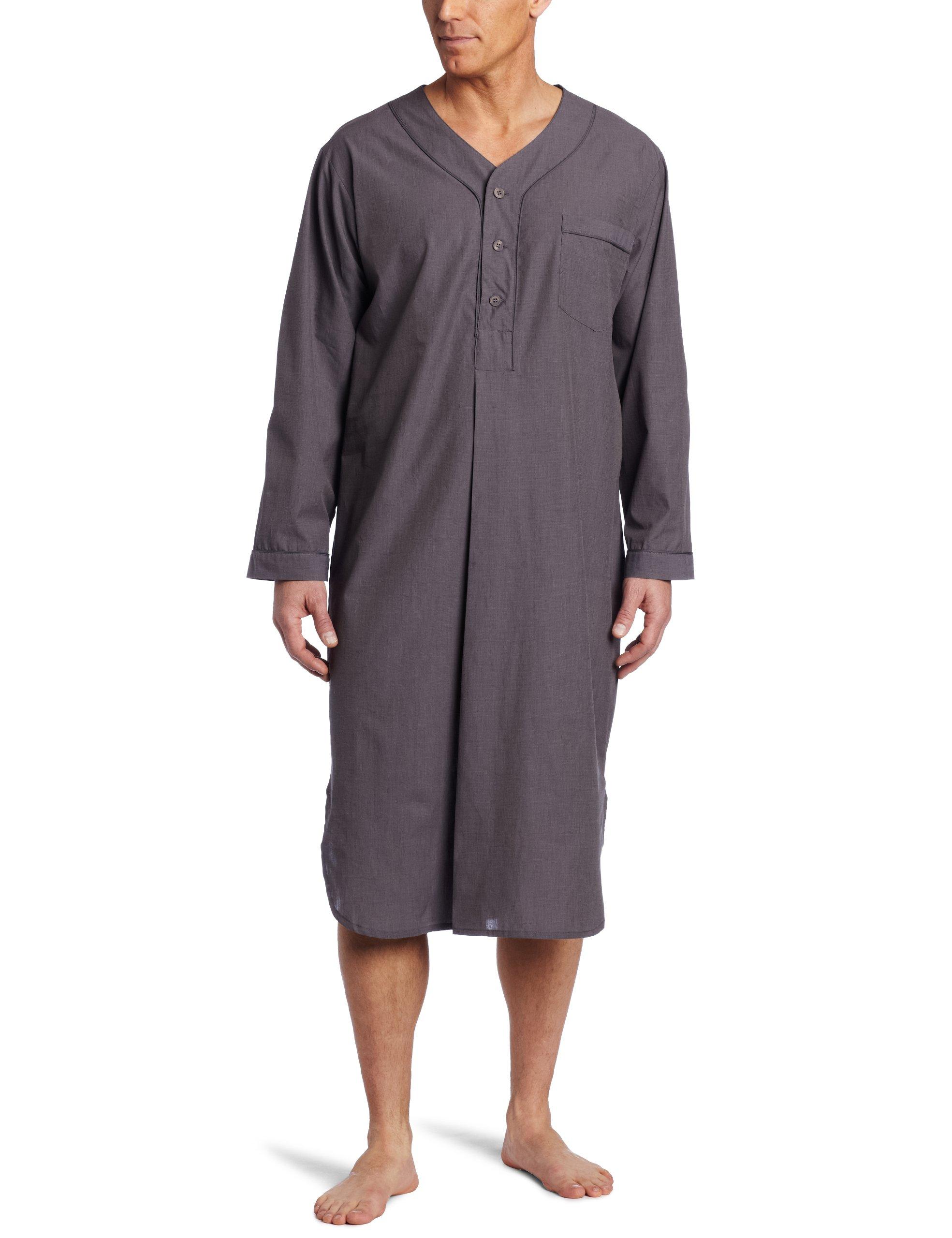 Majestic International Men's Basics Night Shirt, Charcoal, Large/X-Large