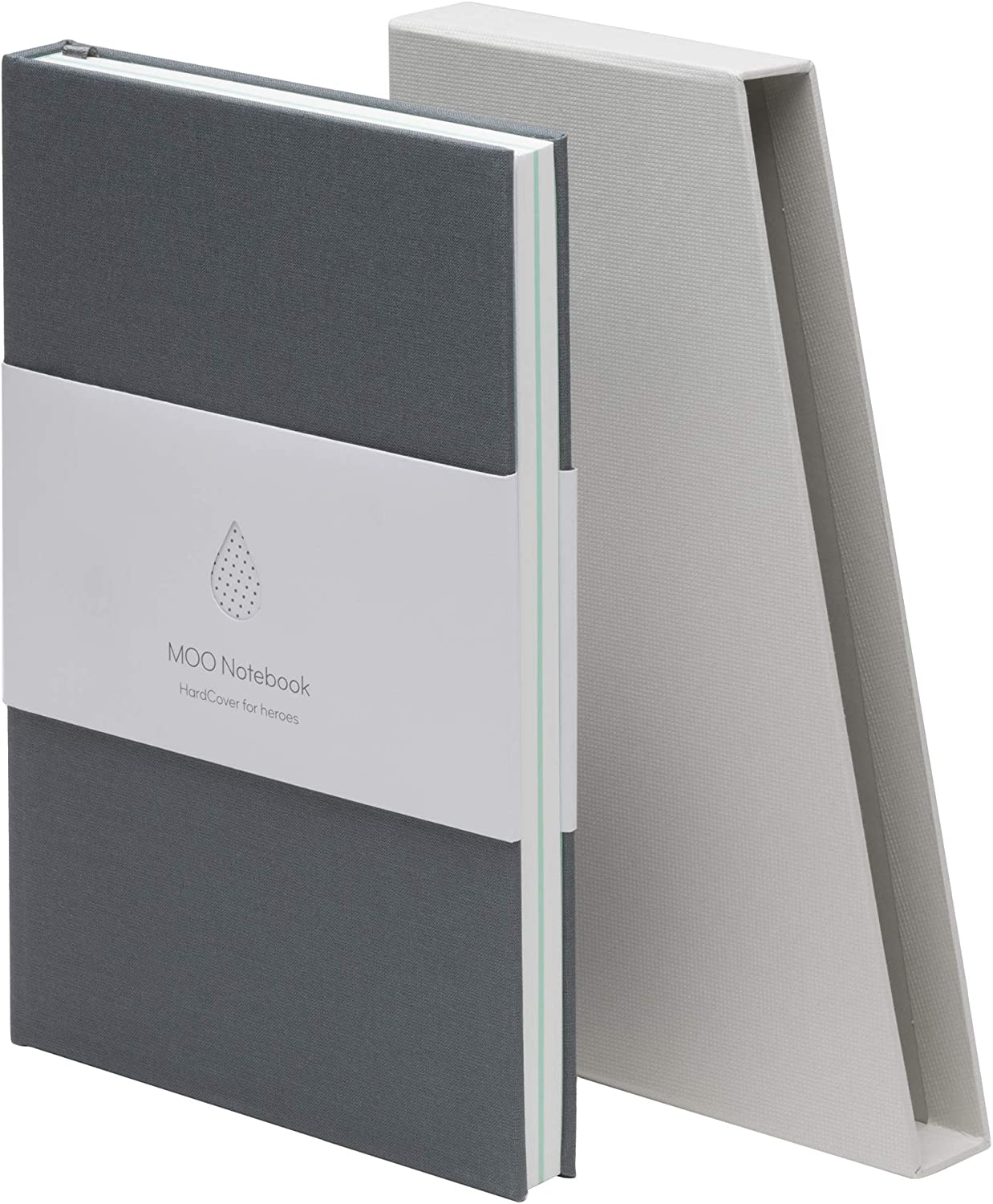 MOO Lined Hardcover Notebook - Premium Grey Lay Flat Journal - Medium-size, Thick 5x8 Paper for Writing and Work, Field Notes and Meetings (Charcoal Grey)