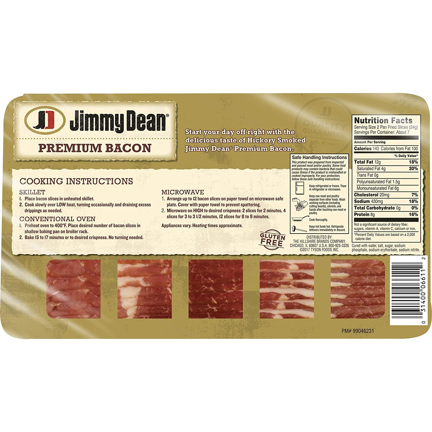 Jimmy Dean, Premium Hickory Smoked Bacon, 16 oz.: Amazon.com: Grocery & Gourmet Food