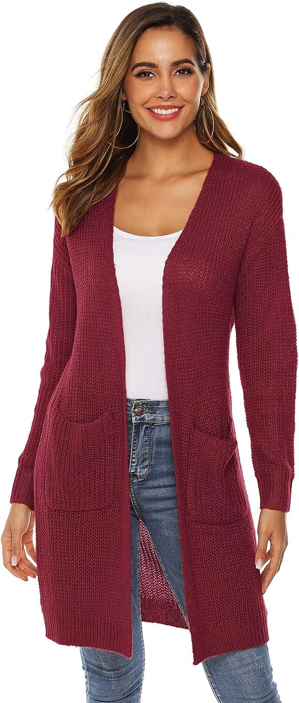 WB_L Suéter Tipo cárdigan Grande de Color Liso Abrigo de Media Longitud para Mujer, Cuello de Pico Suelto, Adecuado para otoño e Invierno