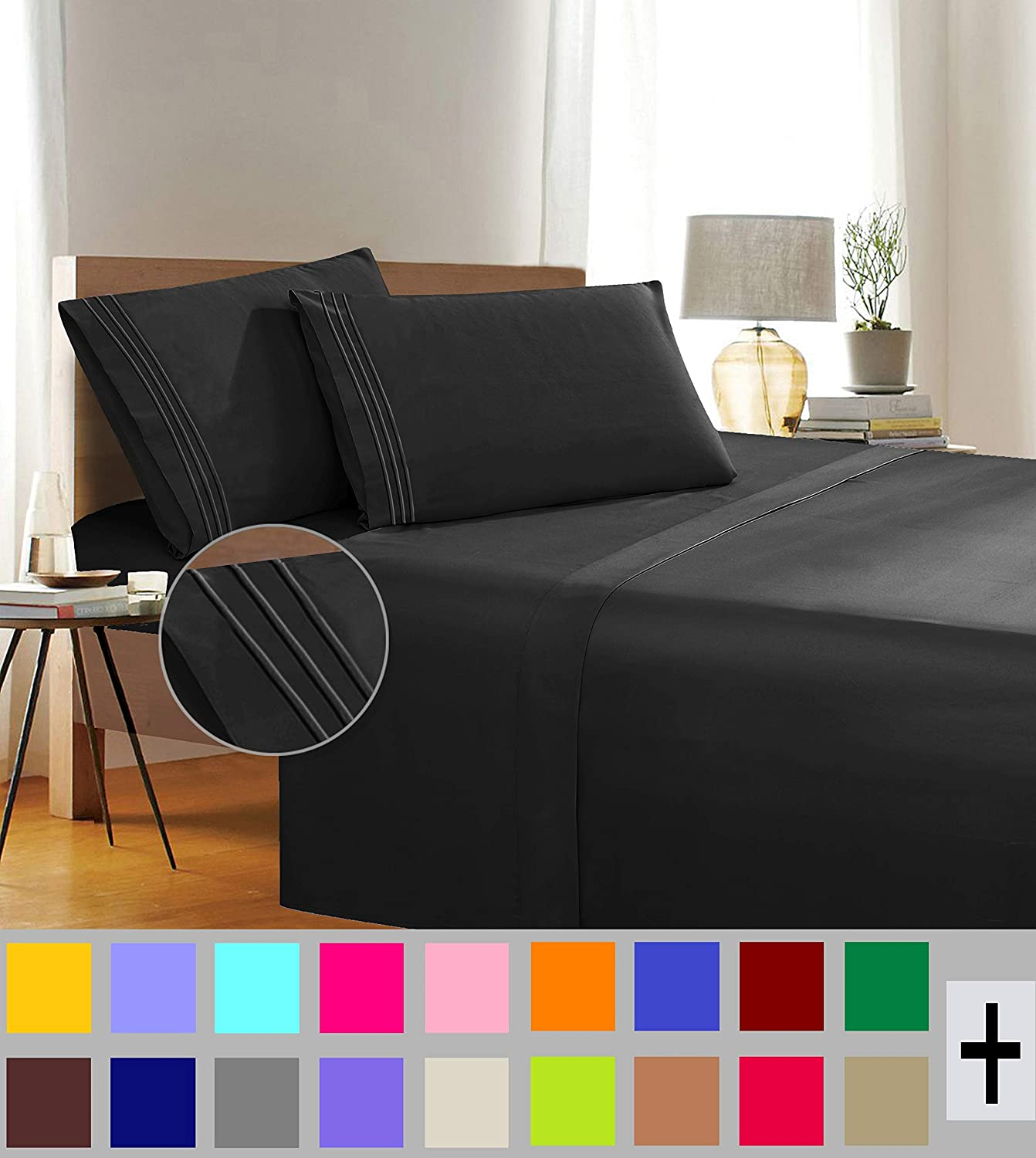 Amber Autumn 1500 Thread Count Wrinkle /& Fade Resistant Egyptian Quality 4-Piece Bed Sheet Set Ultra Soft Luxurious Set Includes Flat Sheet Fitted Sheet and 2 Pillowcases California King