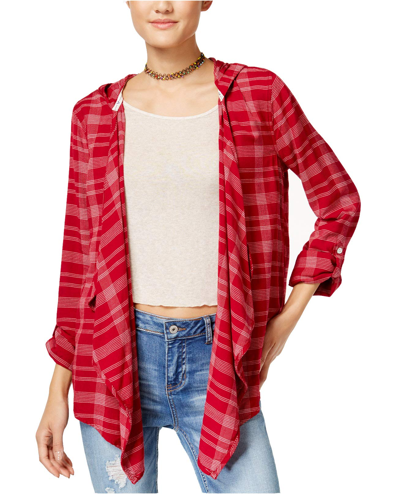 Roxy Juniors' Plaid Hooded City Poncho (Red, X-Large)