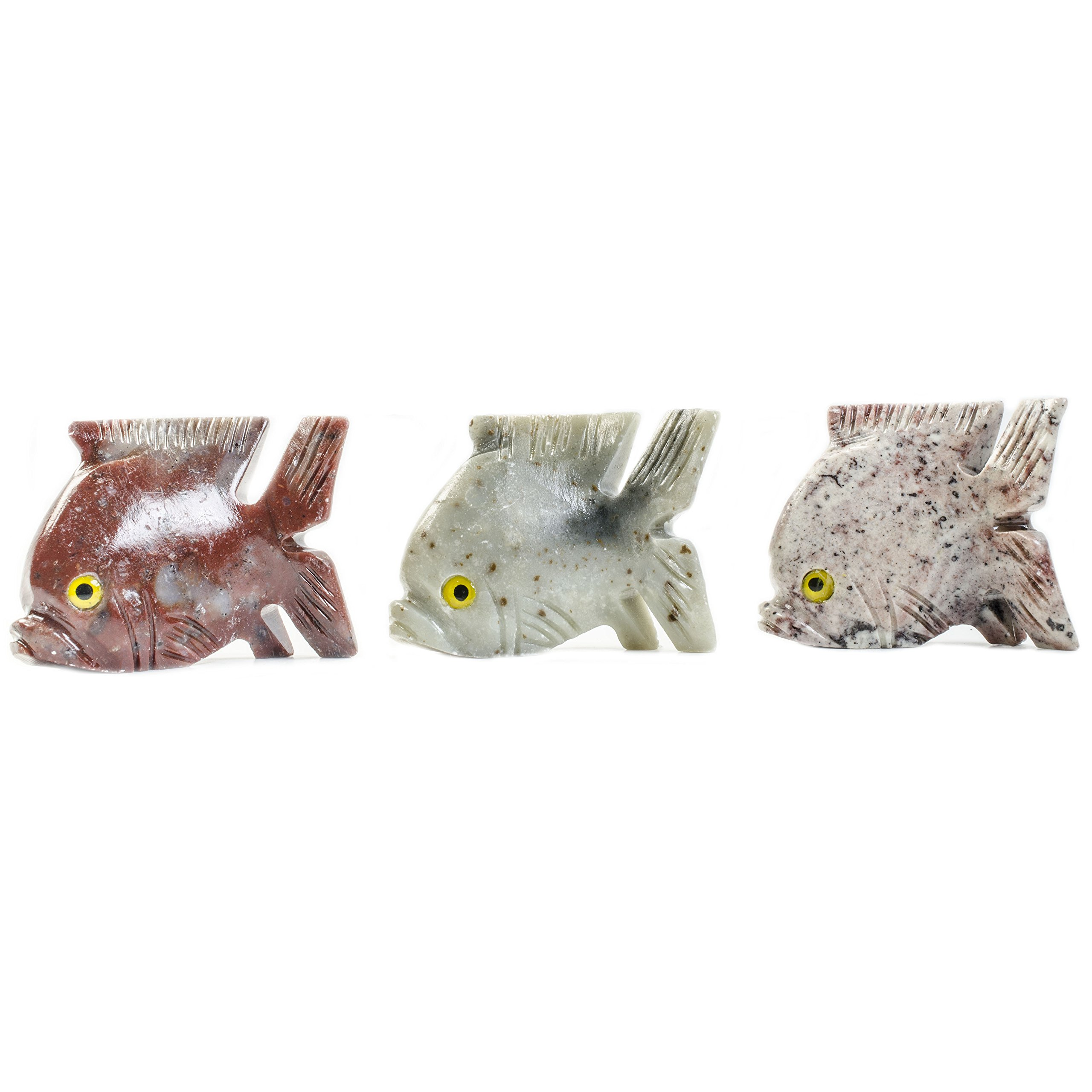 Hypnotic Gems Carvings: 10 pcs Hand Carved Piranha Collectable Animal Figurine - Beautiful Unique Stone Carvings for Gifts, Party Favors, Jewelry Making, and More!